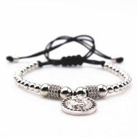 2016 New Brand Atolyestone Fashion Mens Charm Bracelets,Pave Setting CZ Beads & 4mm Round Bead Braiding Men Lion Head Bracelet