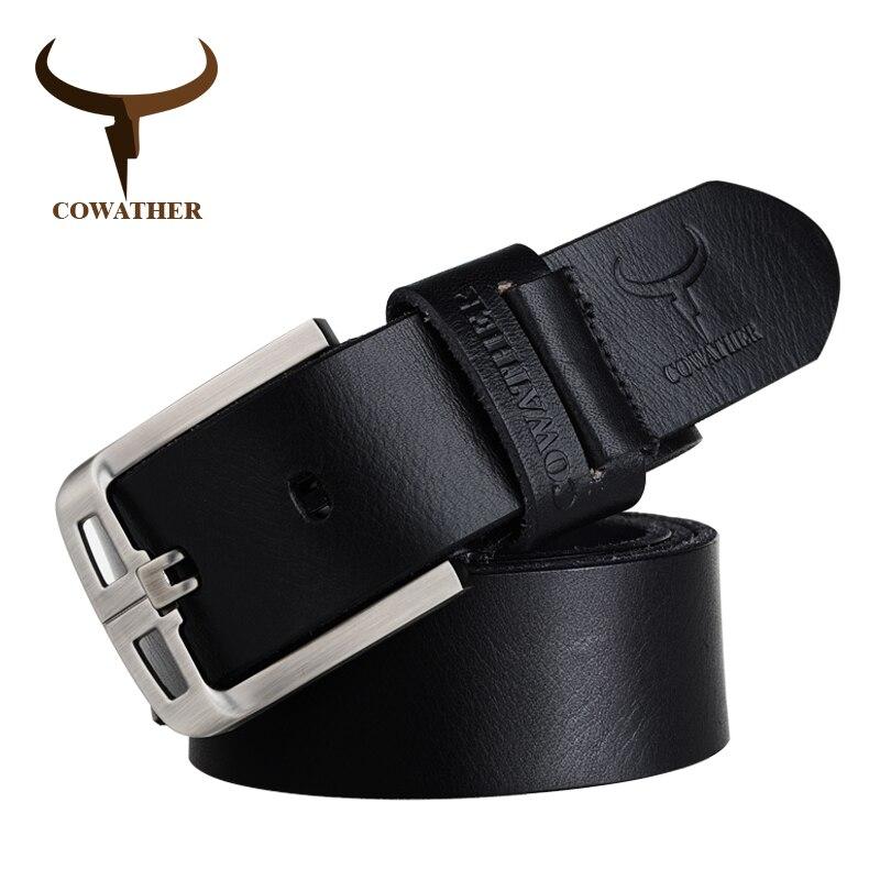 COWATHER Exquis hommes de ceintures 100% vache véritable ceinture en cuir pour hommes goupille en alliage boucle sangle masculine cinturones hombre livraison gratuite