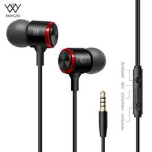 XMXCZKJ Wired Earphone Metal In Ear Earbud Earphones with 3.5mm 1.2M Extra Bass Headset With Mic For Iphone/Android Computer стоимость