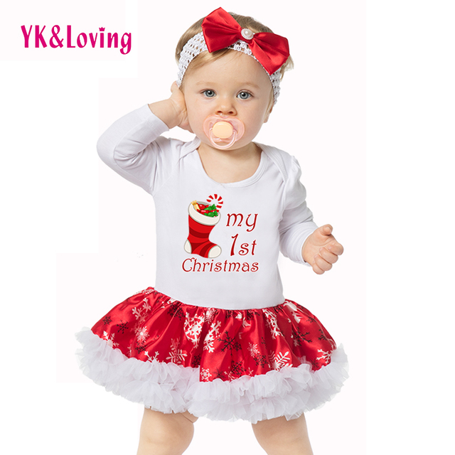 Retail 2016 baby rompers for christmas clothes Longsleeve baby girl clothes with hair band Cartoon suit girls christmas costume