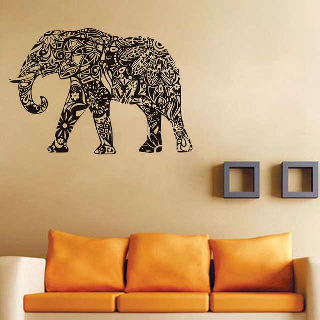 Aliexpresscom Buy Indian Elephant Wall Sticker Bedroom Vinyl