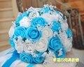 2017 Люкс Для Невесты Свадебный Букет Дешевые Новое Прибытие Белый и Синий Ручной Искусственный Свадебные Цветы Свадебные Букеты