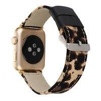 38/42 ملليمتر watchband لتفاح مشاهدة جلد طبيعي مع محولات الأزياء الكلاسيكية ليوبارد iwatch المعصم حزام مشبك البني الأزرق