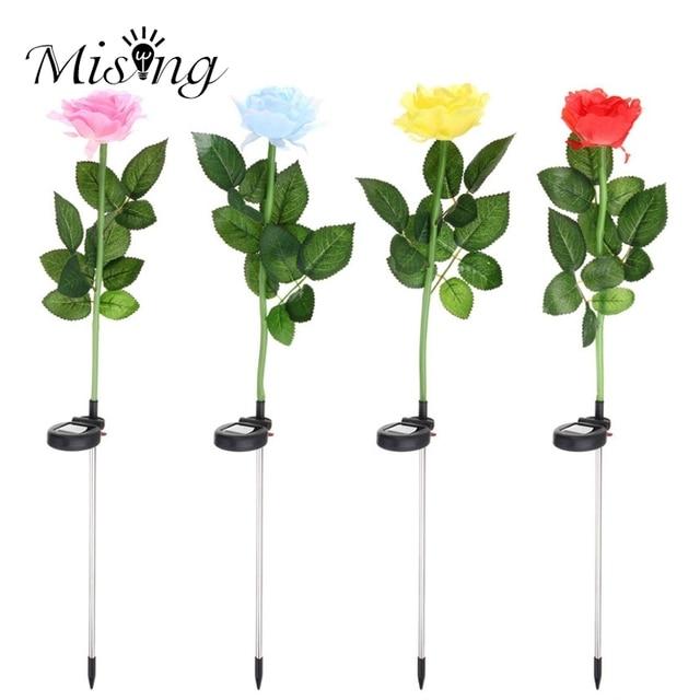 Mising Waterproof Solar Power Rose Flower LED Solar Light LED Garden ...