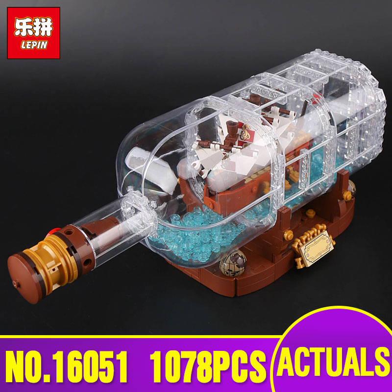 Free Shipping Lepin 16051 Movie Series The legoing 21313 Ship in a Bottle Set Building Blocks Bricks Toys Kid Birthday Gifts lepin 16051 1078pcs movie series the 21313 pirate ship in a bottle set building blocks bricks toys birthday gifts