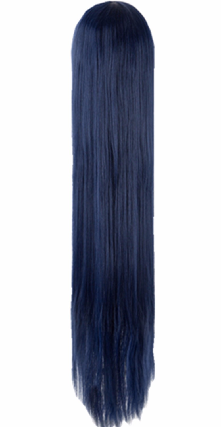 Cosplay Wig Fei-show Synthetic Heat Resistant Dark Blue 40/100 Cm Costume Party Halloween Carnival Events Long Straight Hair Synthetic Wigs