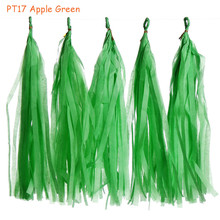 5packs(5pcs/pack) 14inch Apple Green Tissue Paper Tassel Garland Bunting Hanging Wedding Baby Show Birthday Party Decors