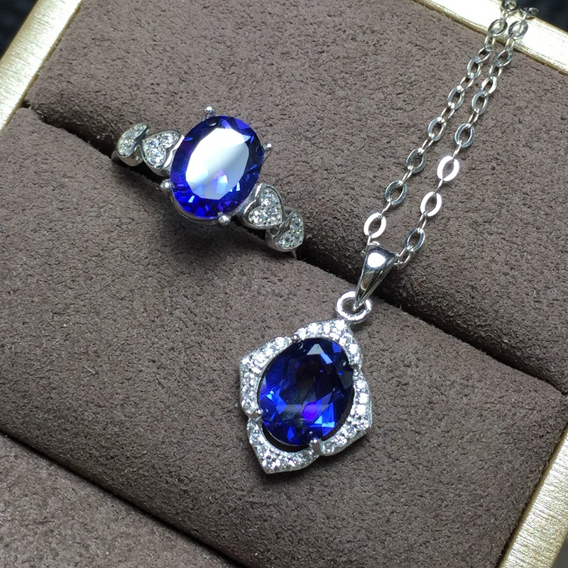 KJJEAXCMY boutique jewels 925 sterling silver inlaid with natural tanzanite topaz ring pendant necklace for womens 2 sets goddeKJJEAXCMY boutique jewels 925 sterling silver inlaid with natural tanzanite topaz ring pendant necklace for womens 2 sets godde