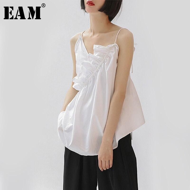 [EAM] 2019 New Spring Summer V-collar Sleeveless Personality Black Irregular White Loose Tank Tops Women Fashion Tide JT160