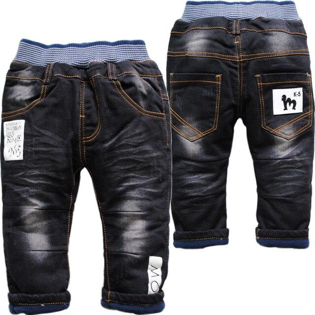 3772 soft   boy  girls baby   jeans   winte  denim and  fleece  black  casual  pants boys girls trousers  news not fade