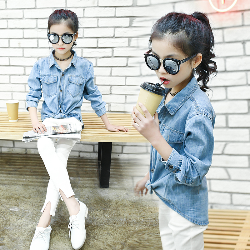 Denim Shirts For Girls Autumn Kids Blouse Back To School 4 5 6 7 8 9 10 Years Long Sleeve Fashion Shirts Litter Girls Clothing все цены