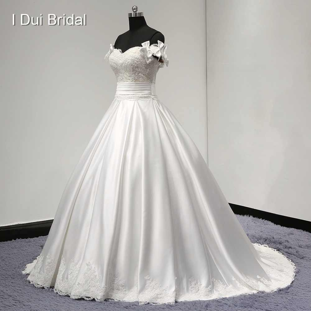 Detachable Bow Strap Satin Wedding Dresses with Pocket High Quality Sweetheart Ball Gown Factory Custom Made