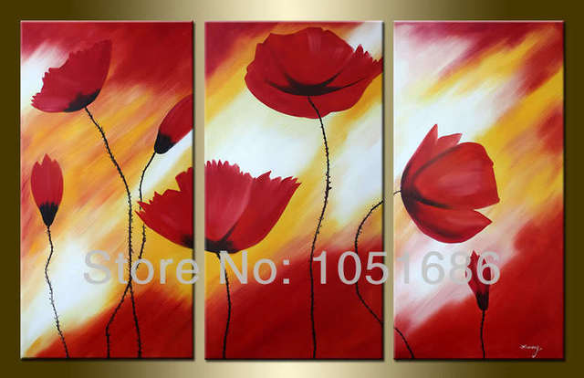 Hand 3 Pc Red Poppy Flower Paintings Drawing Modern Abstract Picture