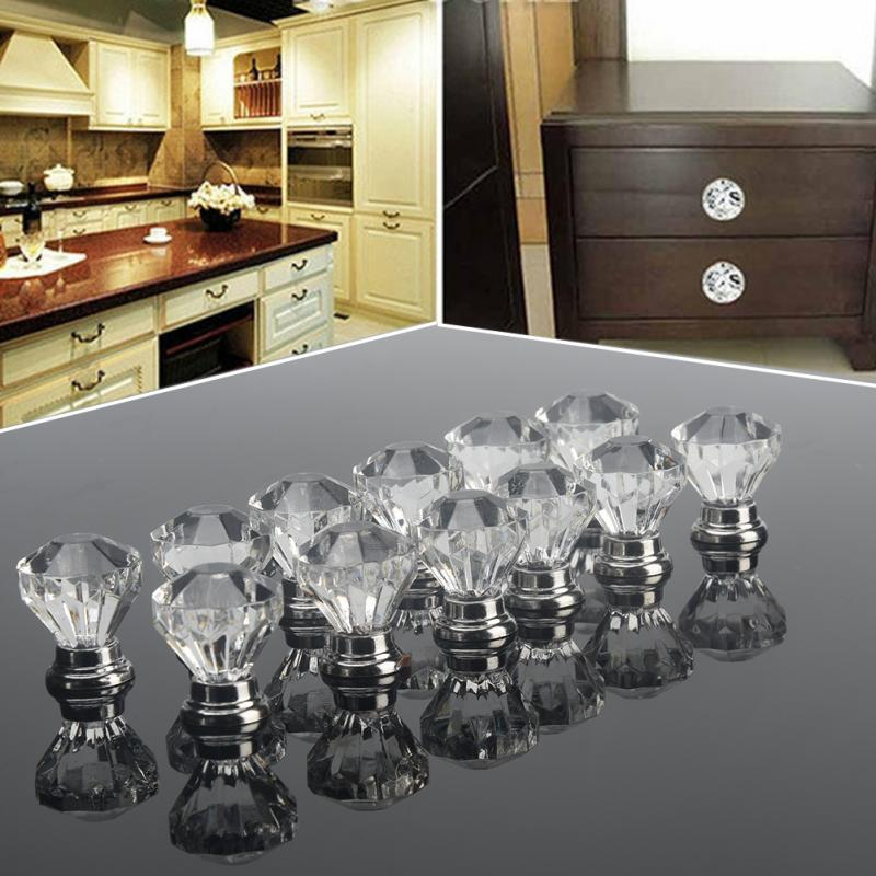 12Pcs Clear Acrylic Diamond Shape Zinc Alloy Crystal Glass Door Knobs Pull Handle Knobs Brand New Knobs And Handles For Furnitur
