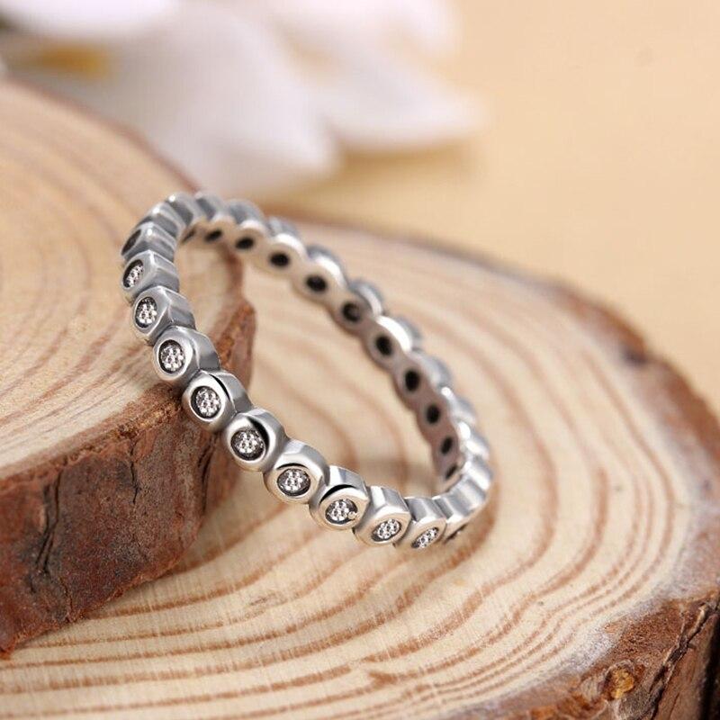 Dynamisch Einfache Mode Persönlichkeit Silber-überzogene Finger Ring Mit Klaren Cz Original Marke Ringe Für Frauen Schmuck Party Geschenk SorgfäLtige FäRbeprozesse Verlobungsringe