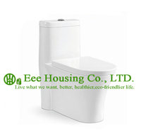 Wc Toilet With Dual Flush Ceramic One Piece,Siphon Flushing Elongated Wall Mount Toilet Bowl Soft Close Seat Cover