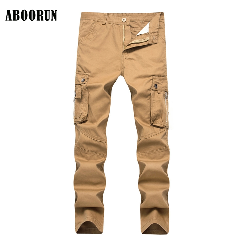ABOORUN 2017 Classic Mens Cargo Pants with Multi Pockets Military Army Green Casual Pure Cotton Jeans W1091 charmkpr mens military outdoor loose large size cotton multi pockets cargo pants