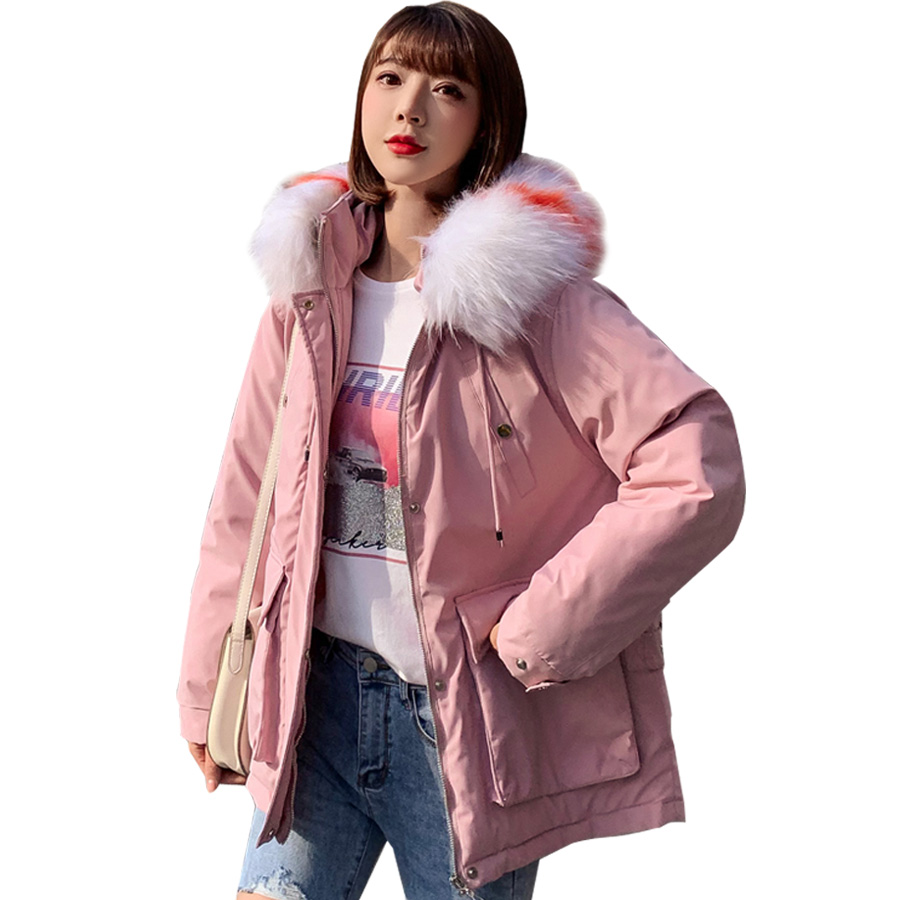 Winter coat women 2019 fur collar hooded down cotton-padded sustans jacket women   parka   outwear female chaqueta invierno mujer