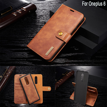 Sinbeda DG.MING Genuine Leather Removable Wallet Case Magnetic Flip Card Slot Cover For Oneplus 6 one plus 1+6 Phone