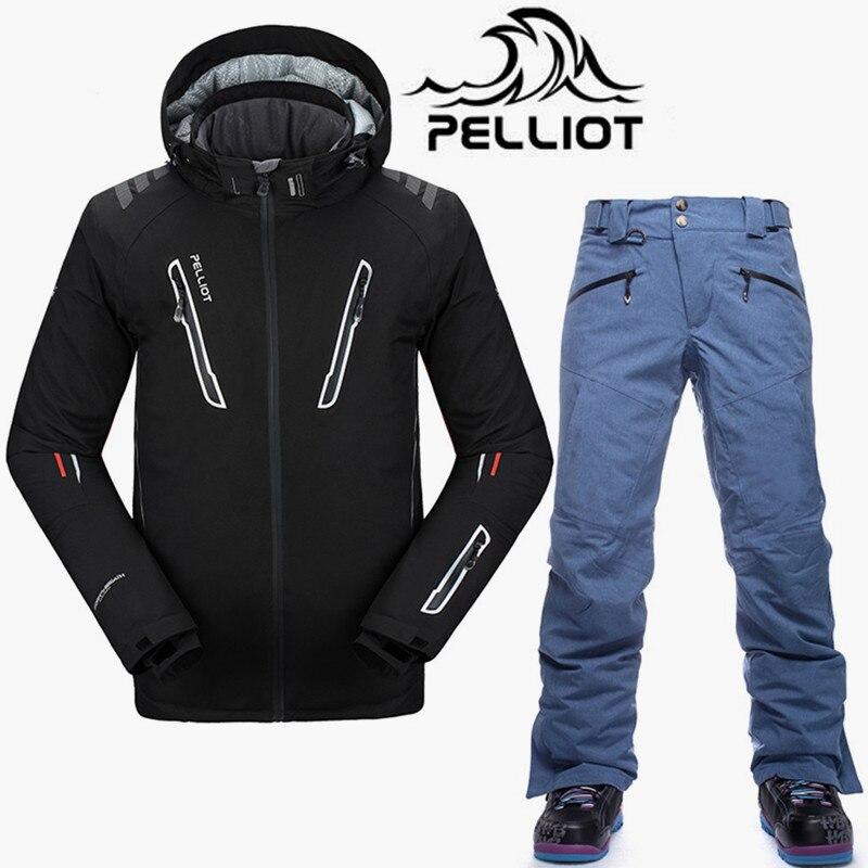 Pelliot Brand SKi Suit Men High Quality Waterproof Ski Jacket Snowboard Pants Super Warm Breathable Snowboarding Suits Snow Sets men ski brand snowboard costume skiing suit sets waterproof