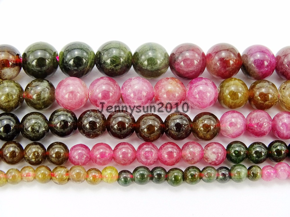 "8mm Multicolored Round Tourmaline Gemstone Loose Beads 15/"" Strand"