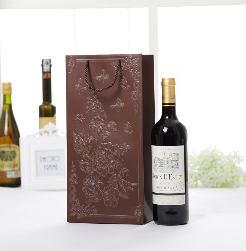 35x17x9cm Brown Cardpaper Wine Packing Bags Clothes Box Candy Gift Holder In Gold White Red Burgundy Brown Black Flower Embossed