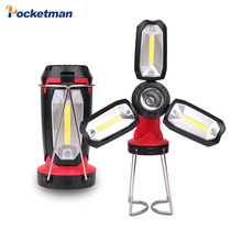 Fan Blade LED Flashlight XPE+3*COB LED Folding Garage Torch Adjustable linternas USB IN/Output Built-in battery work light(China)
