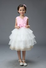 Новая девушка платье розовый большой ребенок лук узел торт платье девушки в возрасте от 2-10 т