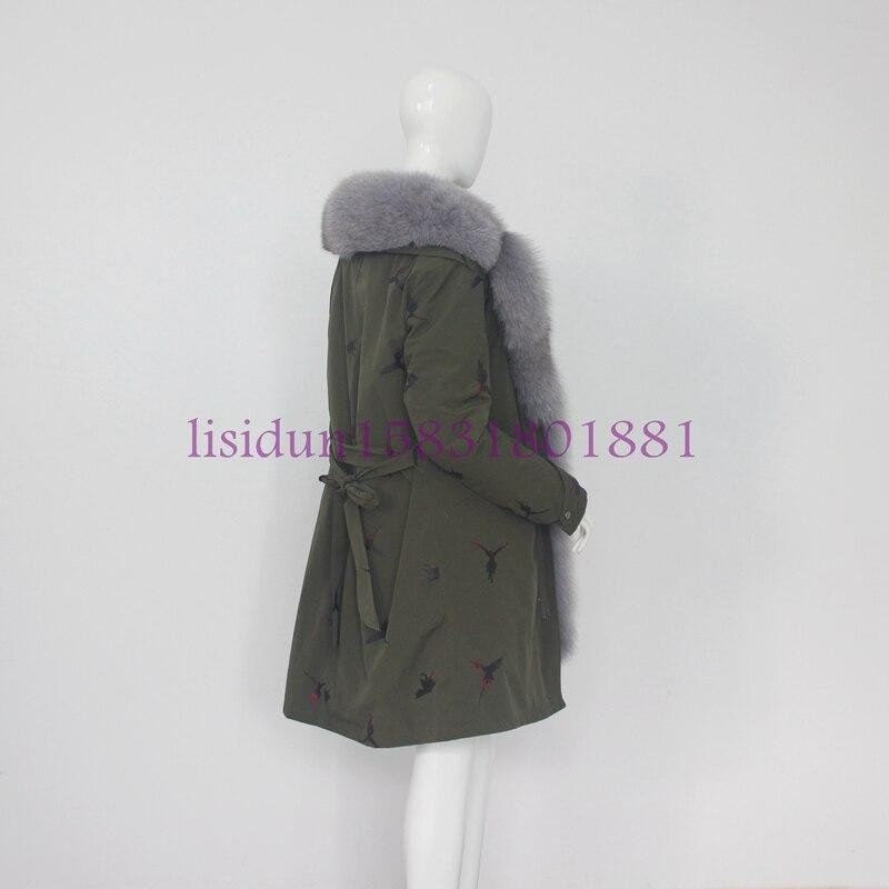 Pour Les Naturel A En 100 Manteau De Lapin Et D'hiver Amovible Doublure Véritable Cm Femmes Manches Renard 60 Longueur 85 Fourrure Wp1UWz