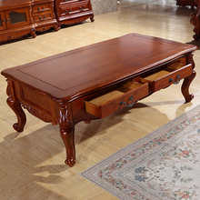 American-style living room coffee table wood TV cabinet Continental carved rustic furniture ensemble 1.4 m teasideend