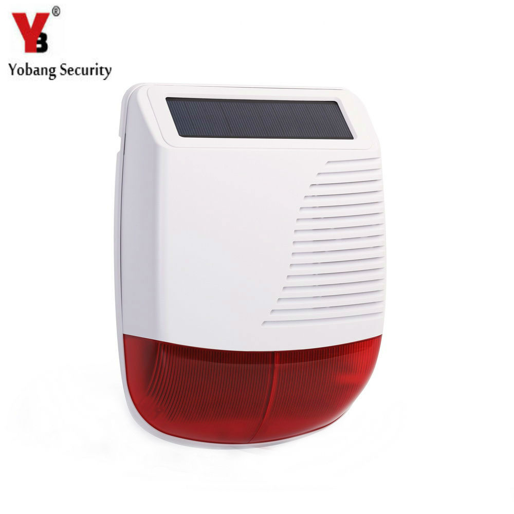 YobangSecurity Wireless Outdoor Solar Siren Flashing Red Light Strobe Siren Solar Panel Power with Battery Alarm System 110dB