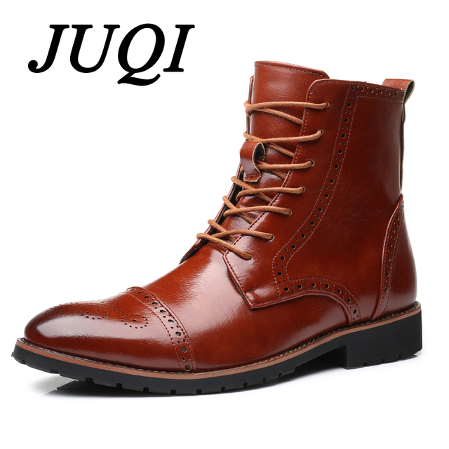 JUQI Men Motorcycle Boots Fashion Ankle Boots Autumn Winter Men's Motorcycle Martin Boots Men Oxfords Shoes Big Size 38-48