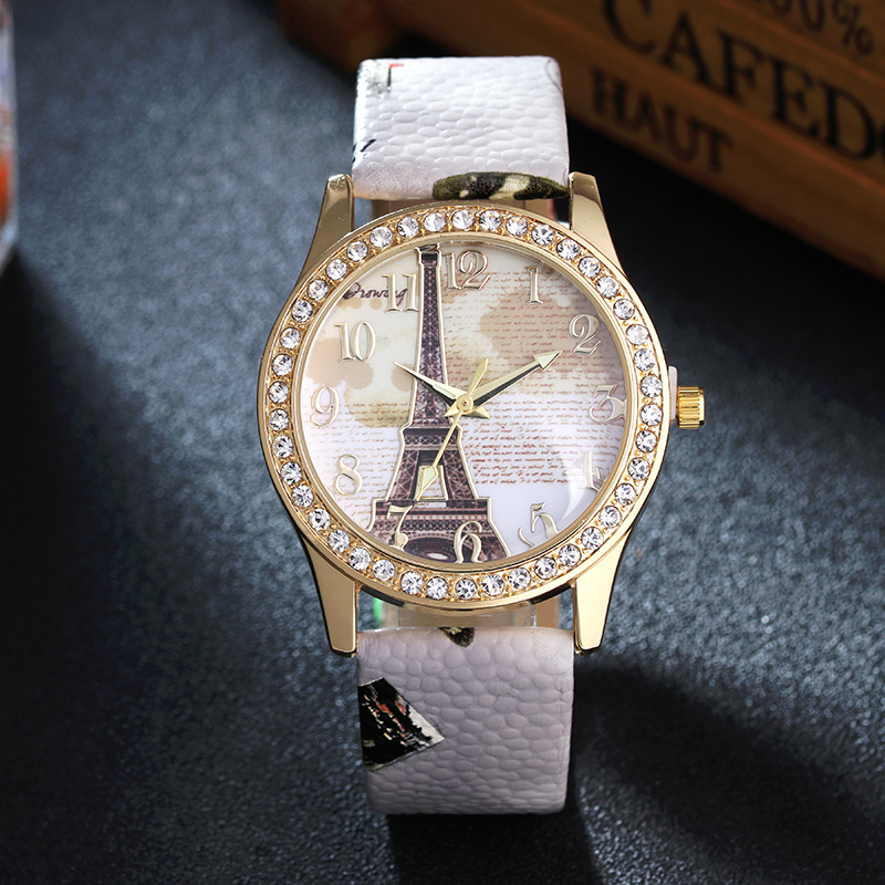 Luxury Brand Fashion Eiffel Tower Vintage Leather Quartz Watch Women Ladies Wrist Watches Casual Chinoiserie woman clock gifts