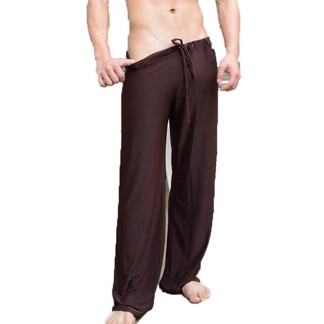 Mens פיג 'מה מכנסיים נמוך מותן אופנה סקסית Loose חלקלק בית מכנסיים קרח משי ארוך שרוולים Loungewear גברים טרקלין מכנסיים פיג 'מה