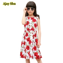 цена на Rose flower Girls Dress 2017 New Spring Summer Baby Girls Dress Vestidos Pattern Pring Design Sleeveless Girls Clothes dresses