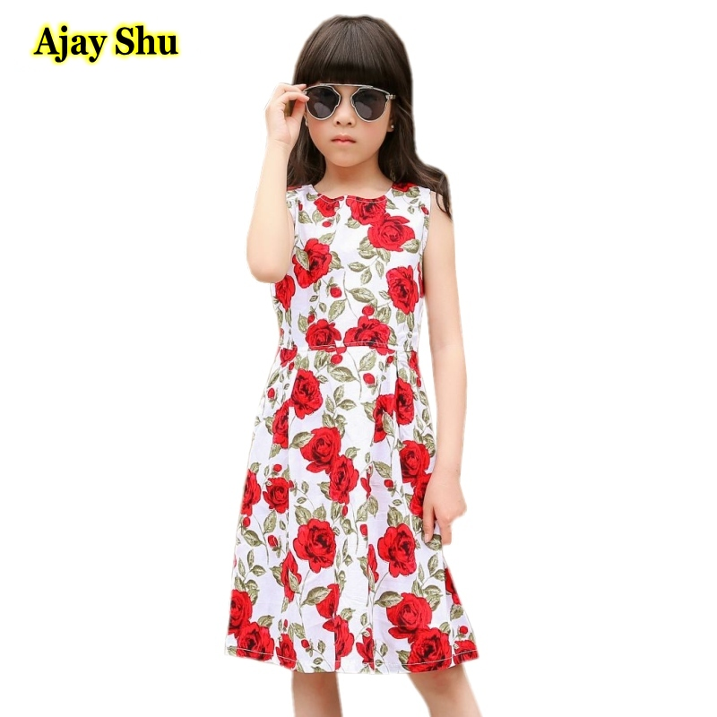 Rose   flower     Girls     Dress   2018 New Spring Summer Baby   Girls     Dress   Vestidos Pattern Pring Design Sleeveless   Girls   Clothes   dresses