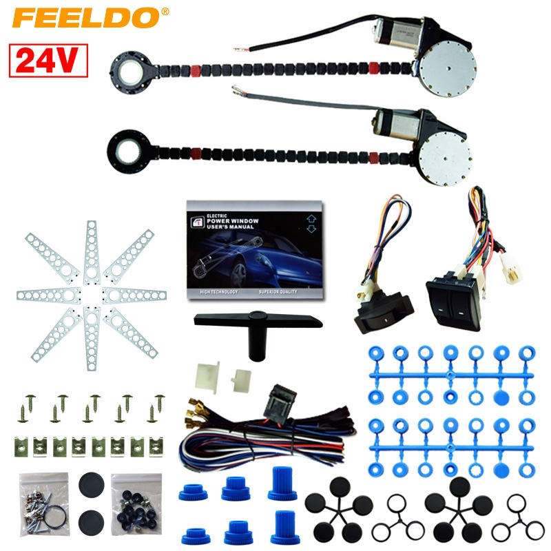 MOTOBOTS 1Set DC24V Universal Car/Truck 2-Doors Electric Power Window Kits 3pcs/Set Switches and Harness #FD4422 motobots universal 2 doors car auto electric power window kits with 3pcs set switches and harness dc12v ca4100