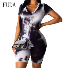 FUDA Vintage 2 Pieces Sets Short Sleeve Crop Top and Skinny Pants Summer High Street Playsuits Women Retro Hollow Out Jumpsuits