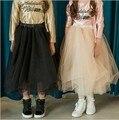 Новый 2016 Европа и Америка Горячей девушки осенью ребенок хлопок сетки юбки дети юбки