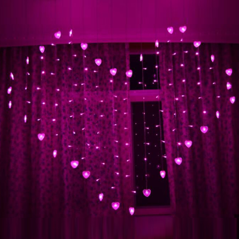 128 Leds Heart Shape Curtain String Christmas Garland LED Lights Decorations Wedding Fairy Lights Holiday Party Garden Decor