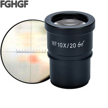 купить FGHGF WF10X Wide-Angle Eyepiece Stereo Microscope Eyepiece DIV-10 Micron Scale Calibration Slide Interface Aperture 30mm дешево