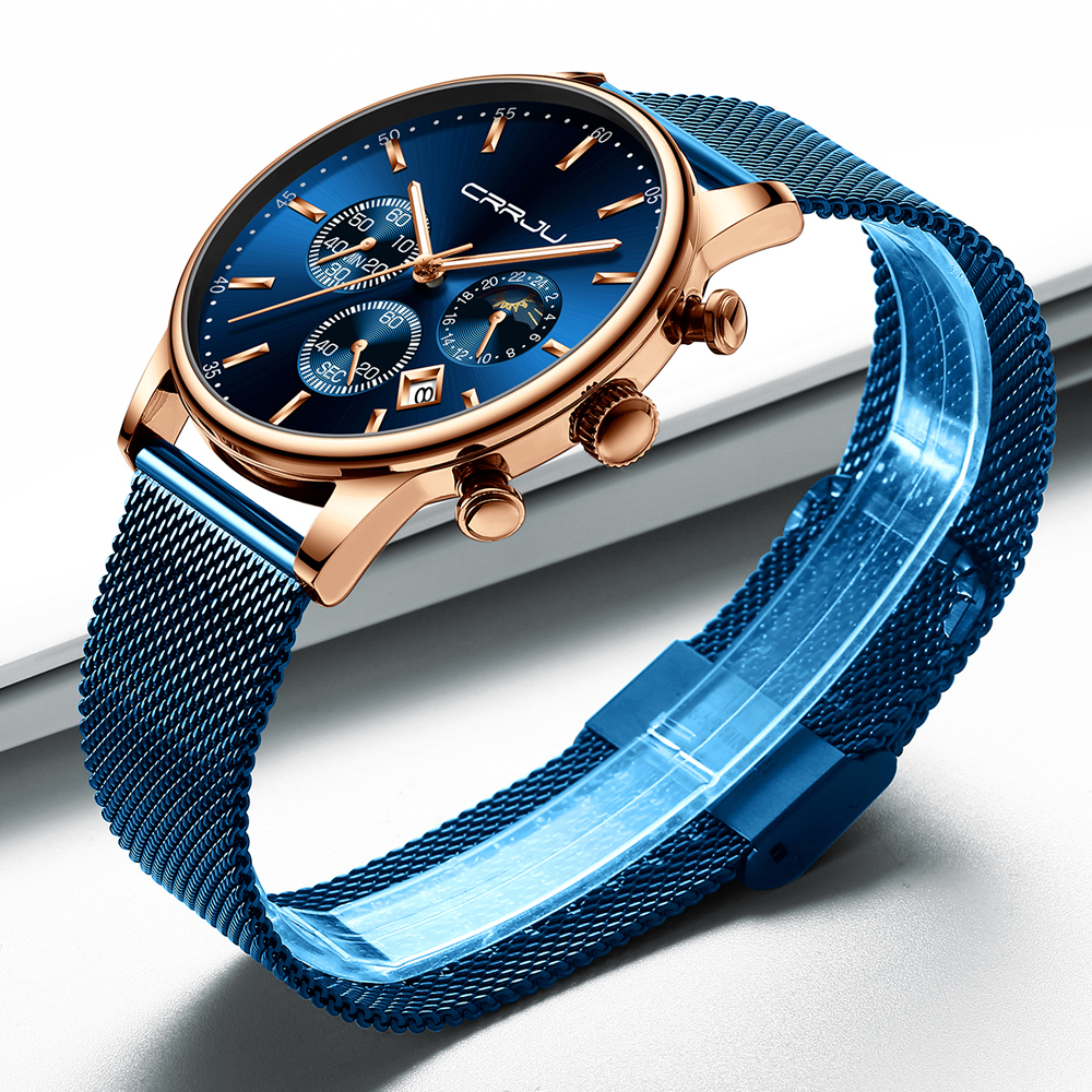 Image 4 - Top Luxury Brand CRRJU Men Watch Fashion Chronograph Mesh Strap Watch Casual Blue Waterproof Sport Wristwatch with Moon Phase-in Quartz Watches from Watches