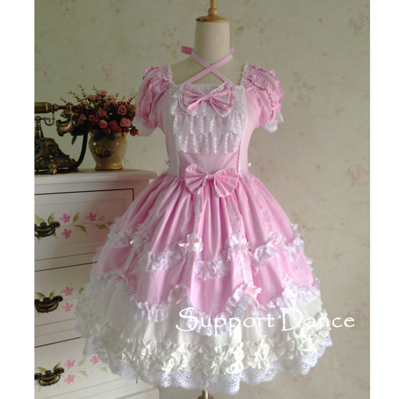 Short Sleeve Lace Gothic Lolita Dress Custom Made Plus Size L42 In