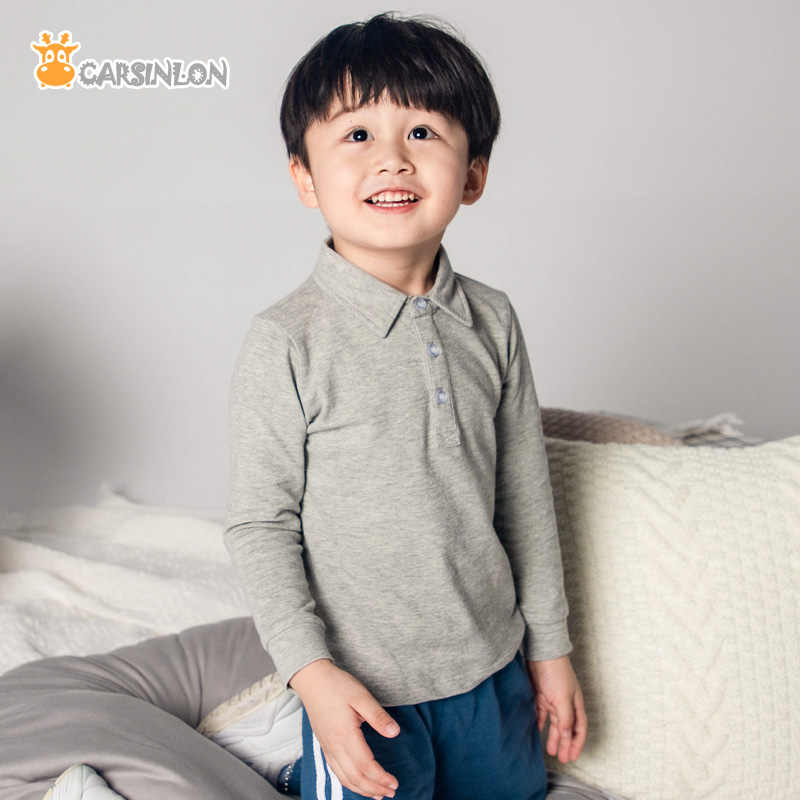 2019 Autumn Winter High Quality Boys Shirts Polo kids Long Sleeve Cotton Thin Breathable Fabric Children White Sports Tops Tee