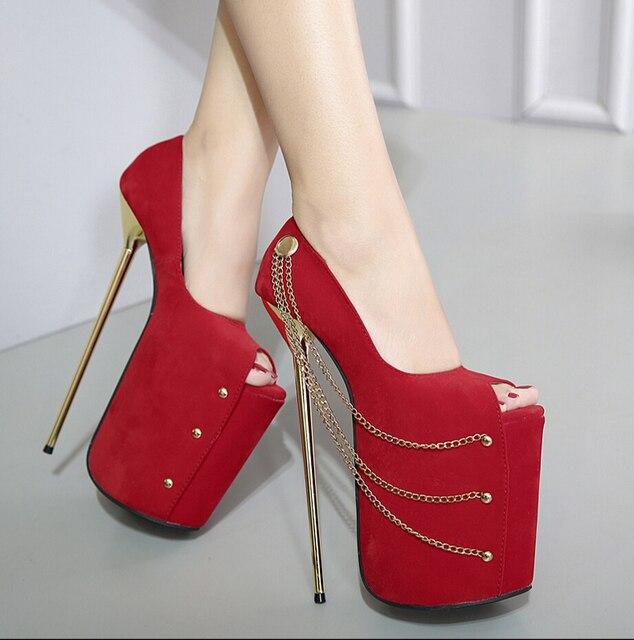 7a243f1454 Corrente de Metal 23 cm Ultra Fino de Salto Alto Sapatos de Camurça Boca de  Peixe
