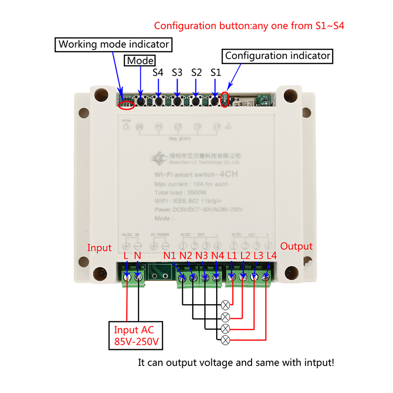 US $19 99  AC 220V 433MHz 4CH Inching Self Locking Interlock WIFI Relay  Controller APP Remote Control Wireless Smart for DIY Smart Home -in  Integrated