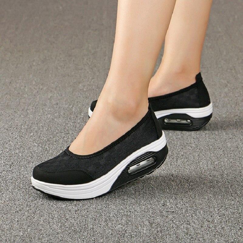 Casual Frauen Air Mesh Wohnungen Plattform Schuhe Schlingpflanzen Slip On Mokassins Komfortable Weibliche Schuhe Damen Wohnungen Schuhe DT938