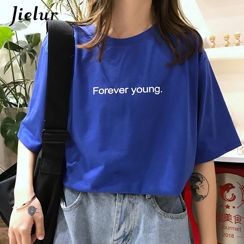 Jielur T-shirt Women Harajuku Loose Casual Forever Young Letters T Shirt Summer Hipster Korean Street Basic Tshirts Purple Blue