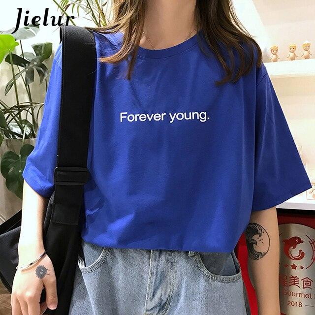d67931c98d8c Jielur camiseta mujer Harajuku suelta Casual para siempre Letras jóvenes  verano Hipster calle coreana Camisetas básicas púrpura azul