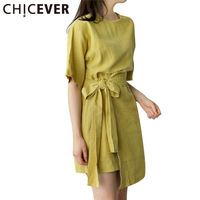 CHICEVER 2017 Short Sleeve Bow Lace Up Summer Dress Women Elastic Waist Loose Dresses Female Clothes